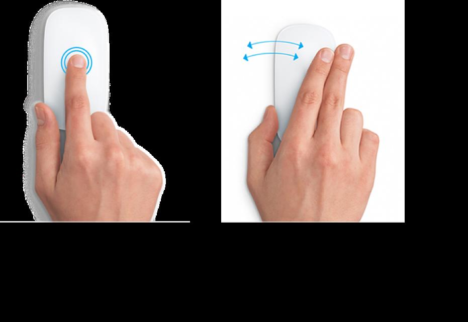 Przykłady gestów myszy do przybliżania ioddalania strony internetowej oraz poruszania się między aplikacjami wyświetlanymi na pełnym ekranie.