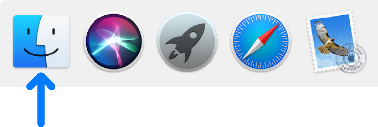 Niebieska strzałka wskazująca ikonę Findera po lewej stronie Docka.