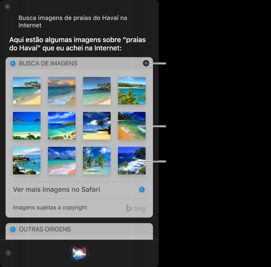 """Janela da Siri mostrando resultados da Siri ao pedido """"Procure imagens de praias no Havaí na Internet"""". Você pode fixar os resultados na Central de Notificações, clicar duas vezes em uma imagem para abrir a página web da qual ela faz parte ou arrastar uma imagem para um e-mail, um documento ou a mesa."""
