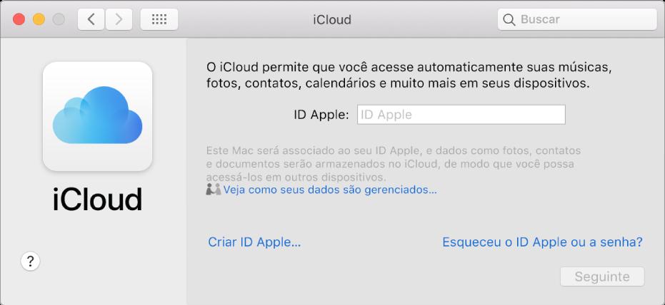 Preferências do iCloud, aguardando que um ID Apple e uma senha sejam digitados.