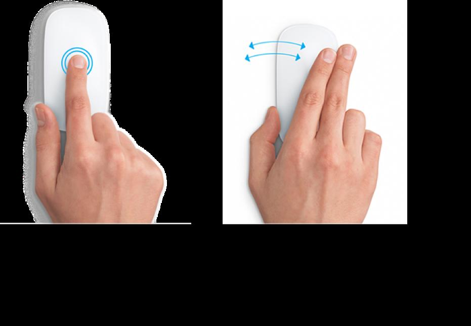 Exemplos de gestos do rato para ampliar e diminuir o tamanho de uma página web e alternar entre aplicações no ecrã completo.