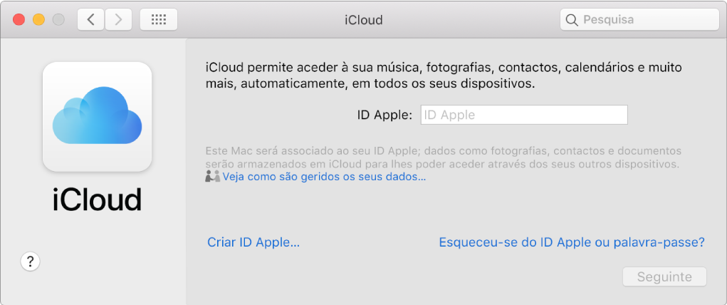 Painel Preferências de iCloud, pronto para a introdução do nome e palavra-passe de um ID Apple