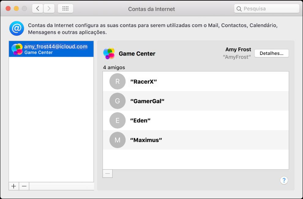 Uma conta do Game Center nas Contas da Internet.