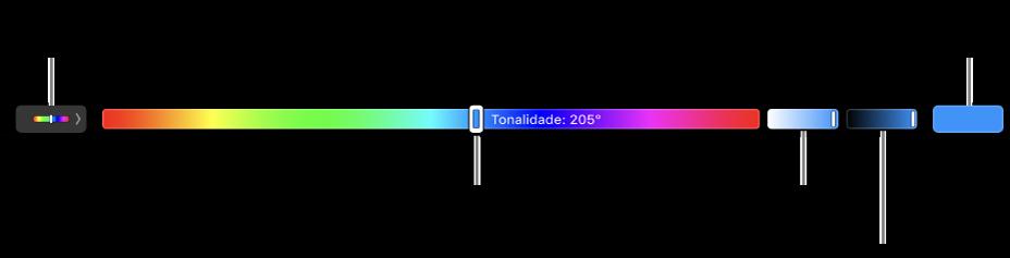 A Touch Bar a mostrar os niveladores de tonalidade, saturação e brilho para o modelo HSB. Na extremidade esquerda está o botão para mostrar todos os perfis; à direita o botão para guardar uma cor personalizada.