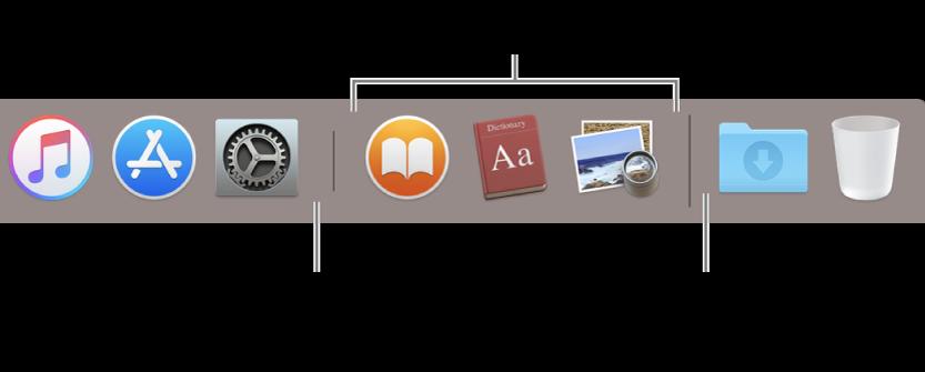A linha separadora entre as aplicações e os ficheiros e pastas na Dock.
