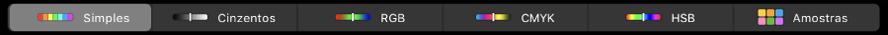 A Touch Bar a mostrar modelos de cor, da esquerda para a direita, Simples, Cinzentos, RGB, CMYK e HSB. Na extremidade direita está o botão Amostras.