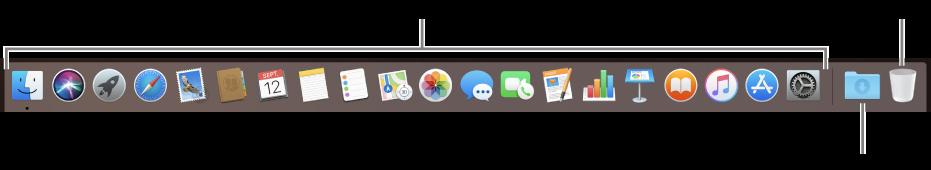 Dock-ul afișând pictograme pentru aplicații, stiva Descărcări și Coșul.