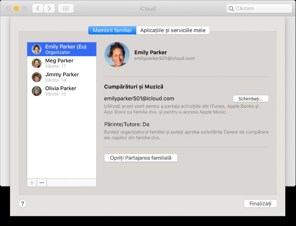 Panoul Membrii familiei din preferințele iCloud.