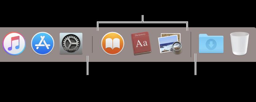 Разделительная линия, отделяющая программы от файлов и папок на панели Dock.