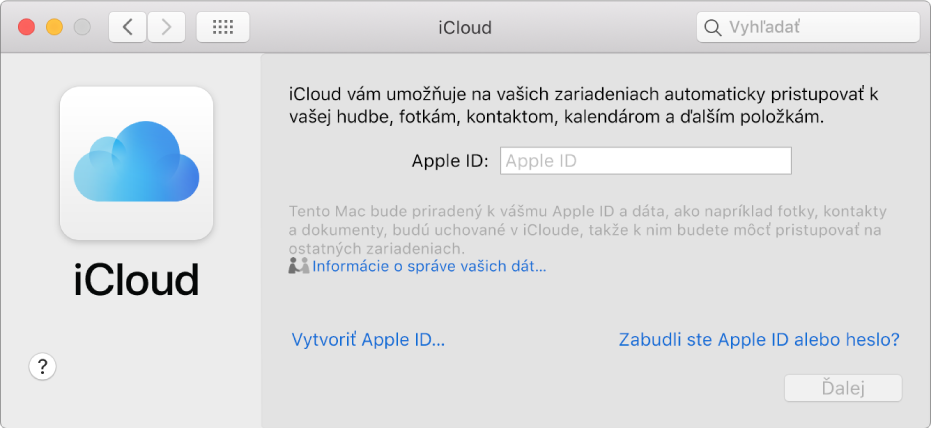 Nastavenia iCloudu, pripravené na zadanie Apple ID ahesla.