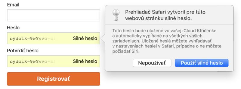Upozornenie vSafari označujúce, že Safari vytvorilo silné heslo pre webovú stránku auložilo ho do iCloud Kľúčenky.