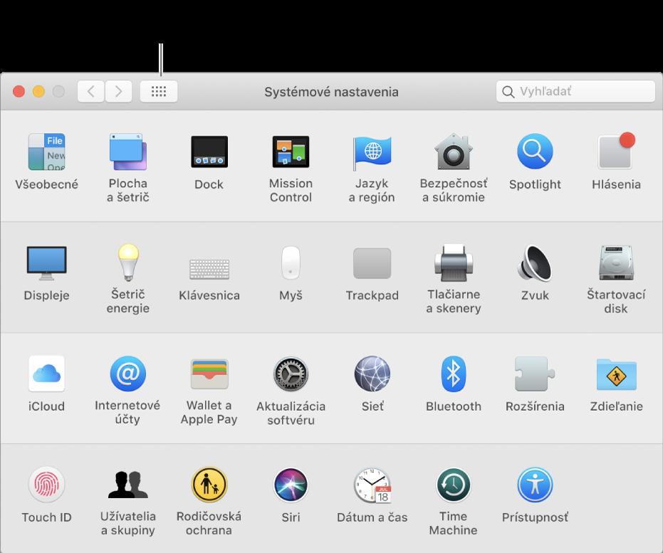 Okno Systémových nastavení smriežkou ikon. Ak chcete zobraziť systémové nastavenia ako zoznam, alebo zmeniť vzhľad mriežky, kliknite na tlačidlo Zobraziť všetky.