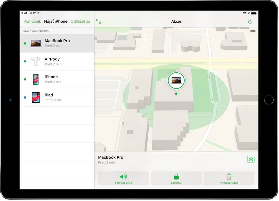Aplikácia Nájsť môj iPhone na iPade sa zobrazenou polohou Macu.
