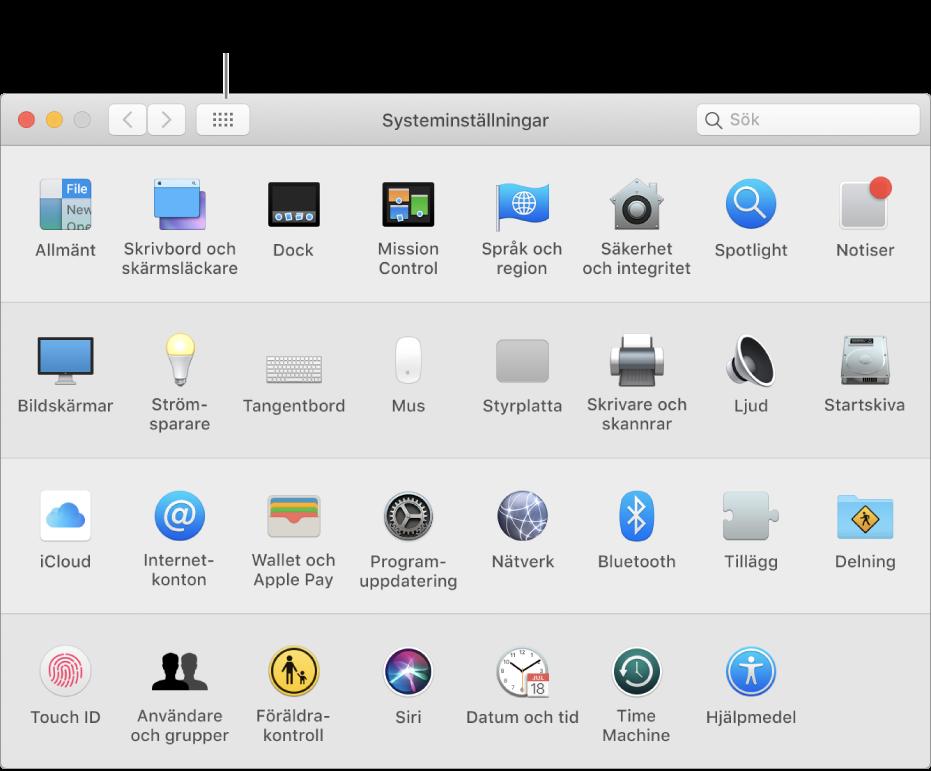 Systeminställningsfönstret som visar rutnätet med symboler. I fönstrets verktygsfält klickar du på knappen som visar alla systeminställningar för att se dem i en lista eller ändra hur rutnätet ser ut.