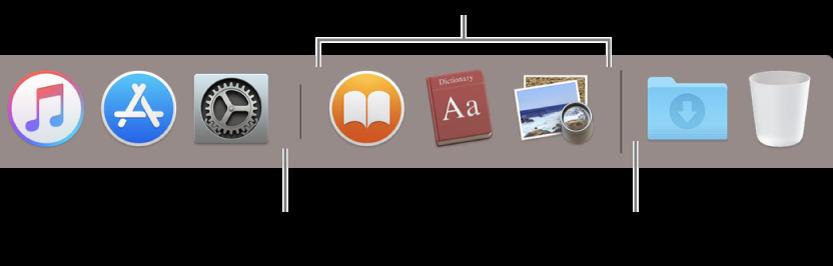 Avgränsningslinjen mellan program och filer samt mappar i Dock.