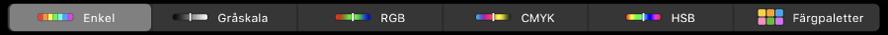 TouchBar med färgtyper – från vänster till höger – enkel, gråskala, RGB, CMYK och HSB. Längst till höger finns färgpalettknappen.