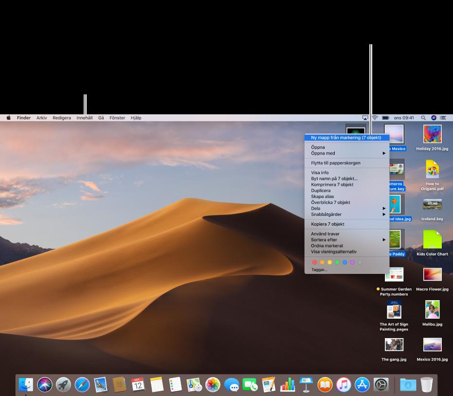 Ett exempel på ett skrivbord med filer. Använd menyn Innehåll, uppe till vänster på skärmen, till att gruppera och sortera symboler. Du kan organisera filerna på skrivbordet – om du vill placera dem i en ny mapp markerar du filerna, kontroll-klickar på en av dem och väljer Ny mapp med markering.