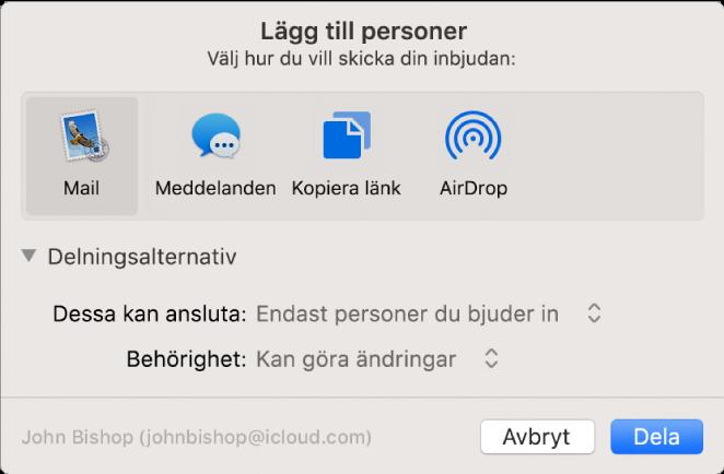 Fönstret Lägg till personer visar program som du kan använda till att skapa inbjudningar och alternativen för delade dokument.