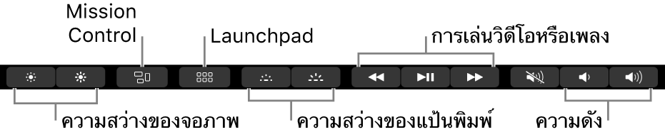 Control Strip ที่ขยายอยู่จะมีปุ่มต่างๆ เรียงจากซ้ายไปขวาดังนี้ ความสว่างจอภาพ, Mission Control, Launchpad, ความสว่างแป้นพิมพ์, การเล่นวิดีโอหรือเพลง และความดัง
