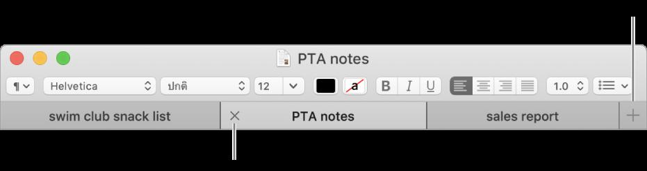 หน้าต่างแอพ TextEdit จะมีสามแถบในเมนูแถบ อยู่ที่ด้านล่างของแถบจัดรูปแบบ แถบหนึ่งอันแสดงปุ่มปิด ปุ่มเพิ่มอยู่ที่ด้านขวาสุดของรายการแถบ