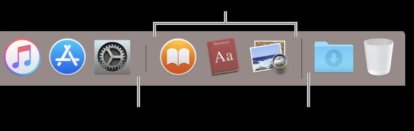 ปลายด้านขวาของ Dock เพิ่มแอพไปทางซ้ายของส่วนแอพที่ใช้ล่าสุดและเพิ่มโฟลเดอร์ไปทางขวาของส่วนนั้น ซึ่งมีสแต็ครายการดาวน์โหลดและถังขยะอยู่