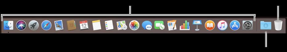 Dock แสดงไอคอนของแอพ, สแต็ครายการดาวน์โหลด และถังขยะ