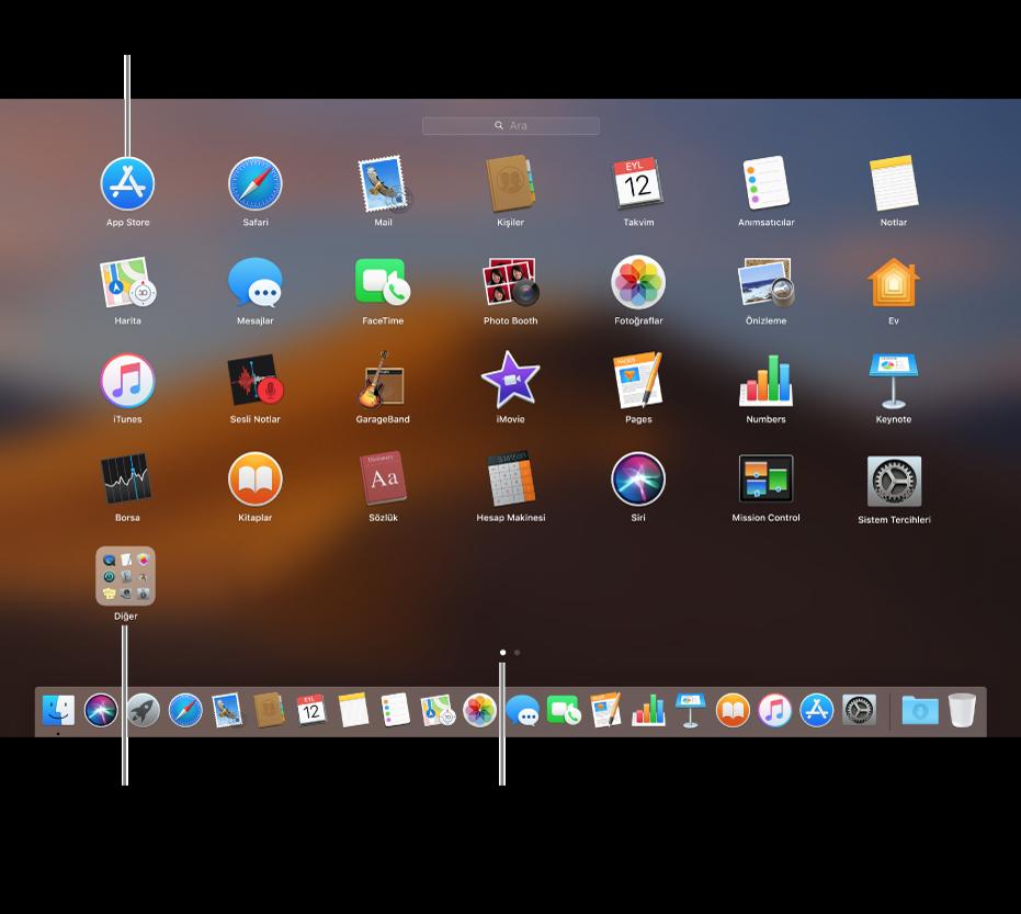 Açabileceğiniz uygulamaları gösteren Launchpad.