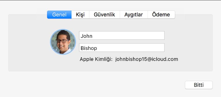 iCloud tercihlerinin Hesap Ayrıntıları sorgu kutusu