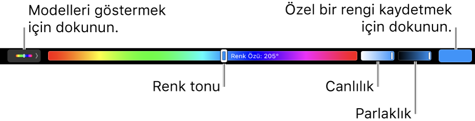 HSB modeli için renk özü, doyma ve parlaklık sürgülerini gösteren Touch Bar. Sol uçtaki, tüm profilleri gösteren düğmedir; sağdaki ise özel bir rengi gösteren düğmedir.