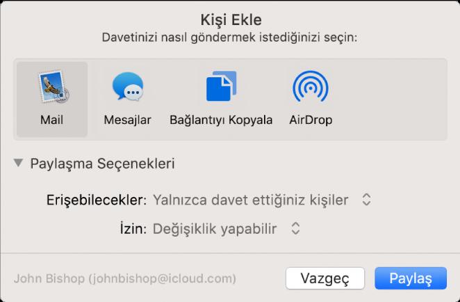 Davette bulunmak için kullanabileceğiniz uygulamaları ve belge paylaşmaya yönelik seçenekleri gösteren Kişi Ekle penceresi.