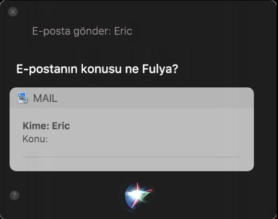 E-posta iletisinin dikte edildiğini gösteren Siri penceresi.