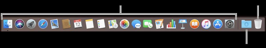Панель Dock з іконками програм, стосом викачаного і смітником.