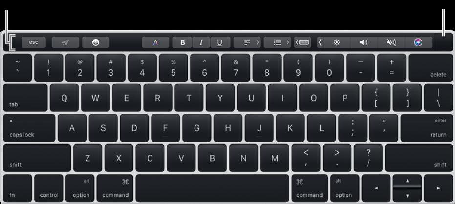 Клавіатура з панеллю Touch Bar вгорі; Touch ID розташовано з правого кінця Touch Bar.