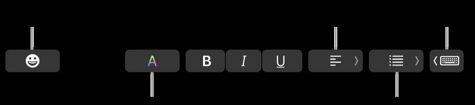 Touch Bar з кнопками для програми «Пошта», зліва направо: Емотикони, Кольори, Жирний, Курсив, Підкреслений, Вирівнювання, Списки і Варіанти вводу.