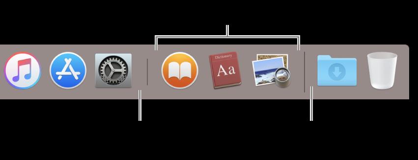 Частина панелі Dock із лініями роздільника між програмами, нещодавно використаними програмами і файлами та папками.