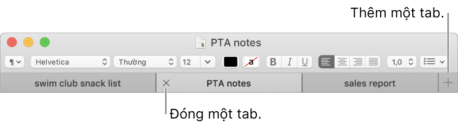 Cửa sổ TextEdit có ba tab trong thanh tab, nằm bên dưới thanh định dạng. Một tab hiển thị nút Đóng. Nút Thêm nằm ở đầu bên phải của thanh tab.