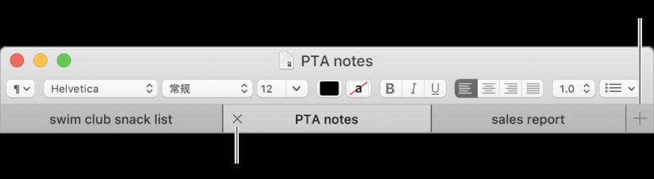 """""""文本编辑""""窗口,标签页栏中有三个标签页,位于格式栏下方。一个标签页显示""""关闭""""按钮。""""添加""""按钮位于标签页栏的右端。"""