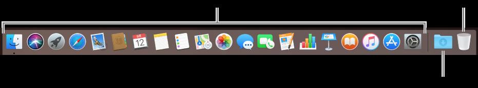 """程序坞显示应用图标、""""下载""""叠放和废纸篓。"""