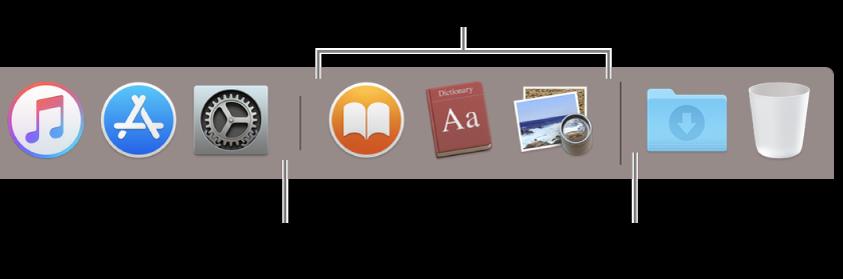 """程序坞的最右端。将应用添加到最近使用应用部分的左侧;将文件夹添加到该部分的右侧,""""下载""""叠放和废纸篓也位于此处。"""