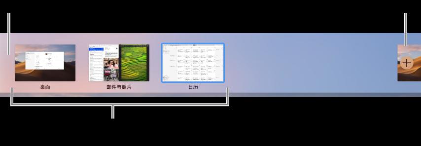 空间栏显示桌面空间,在全屏幕视图或分屏浏览视图中使用的应用和用来创建空间的添加按钮。