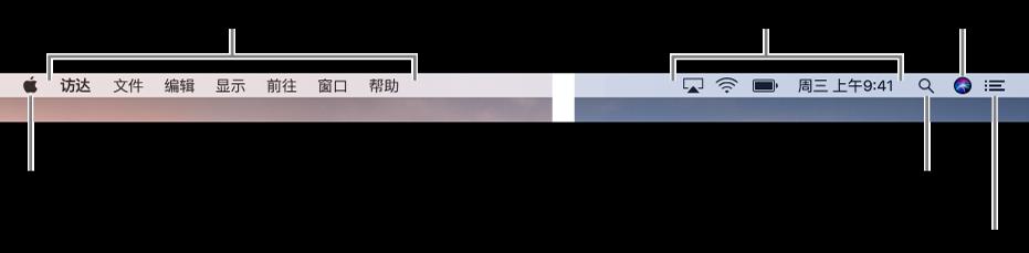 """菜单栏。左侧是苹果菜单和应用菜单。右侧是状态菜单,以及""""聚焦""""、Siri 和""""通知中心""""图标。"""