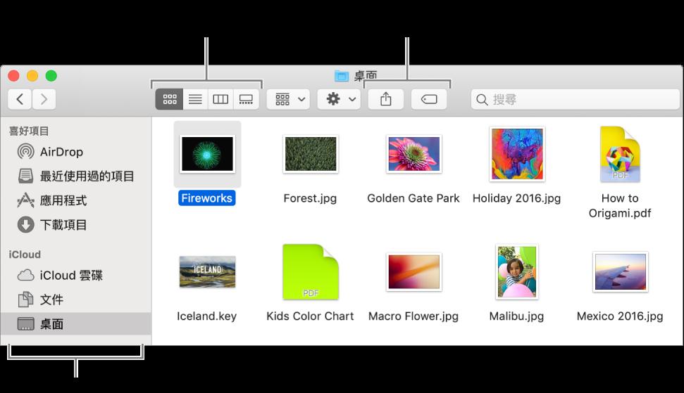 Finder 視窗,左側顯示 Finder 側邊欄。按一下視窗左上角的四個按鈕,便可更改 Finder 視窗中項目的顯示方式。按下右側兩個按鈕可分享或標籤選取的檔案。