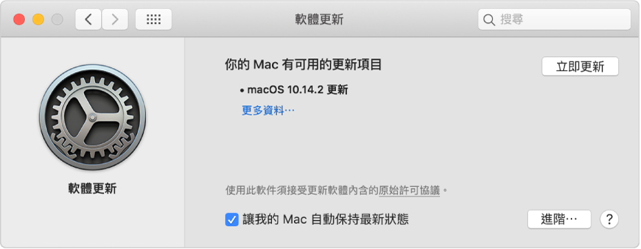 「軟件更新」偏好設定顯示有一個可用的更新項目。