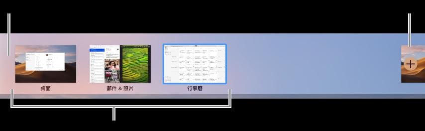 「空間」列,其中顯示桌面空間、App(全螢幕和「分割顯示」)以及可製作「空間」的「加入」按鈕。