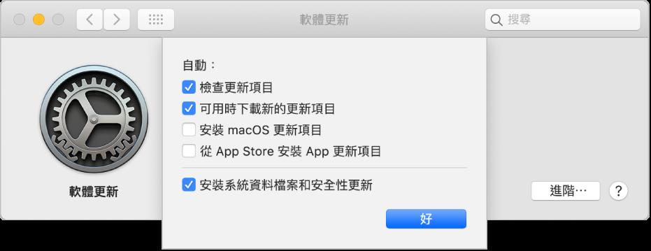 「軟體更新」偏好設定的「進階」選項。