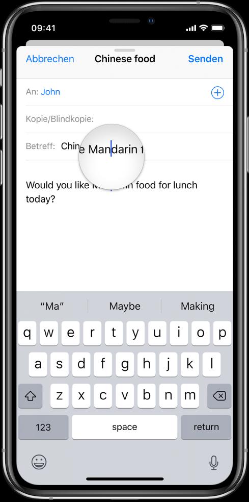 eingeben und bearbeiten von text auf dem iphone apple. Black Bedroom Furniture Sets. Home Design Ideas