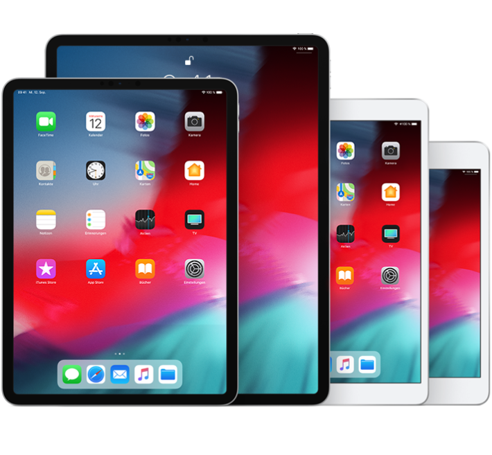 "iPadPro (10,5""), iPadPro (12,9"") (2.Generation), iPadAir (3.Generation) und iPadmini (5. Generation)"