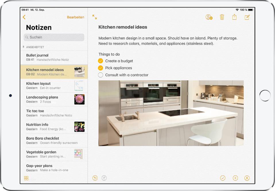 schreiben von notizen auf dem ipad apple support. Black Bedroom Furniture Sets. Home Design Ideas