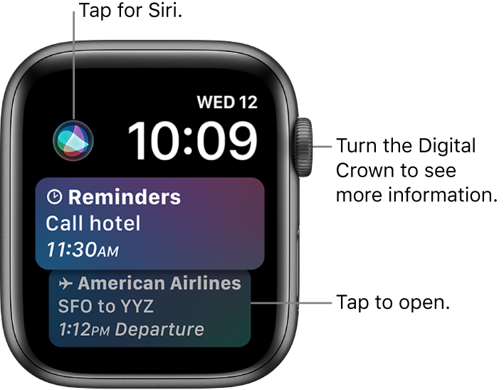 The Siri watch face showing a reminder and a boarding pass. A Siri button is at the top-left of the screen. The date and time are at the top right.