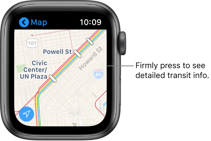 The Maps app showing transit details, including routes and stop names.